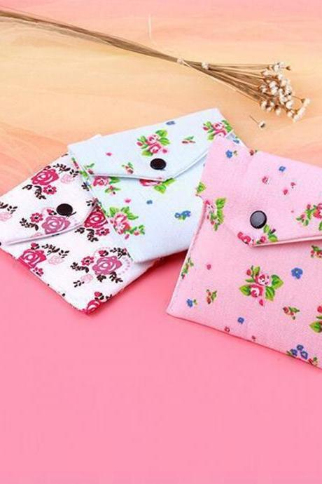 Portable Storage Bag Floral Pattern Sanitary Napkin Container