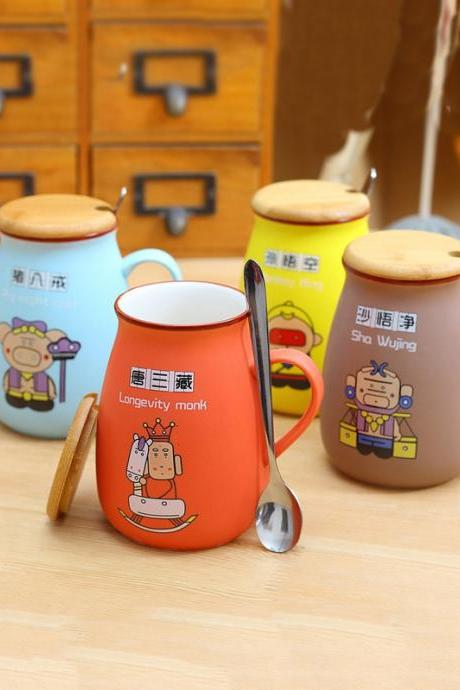 Cute Cartoon Characters Pattern Ceramic Mug With Bamboo Lid And Spoon