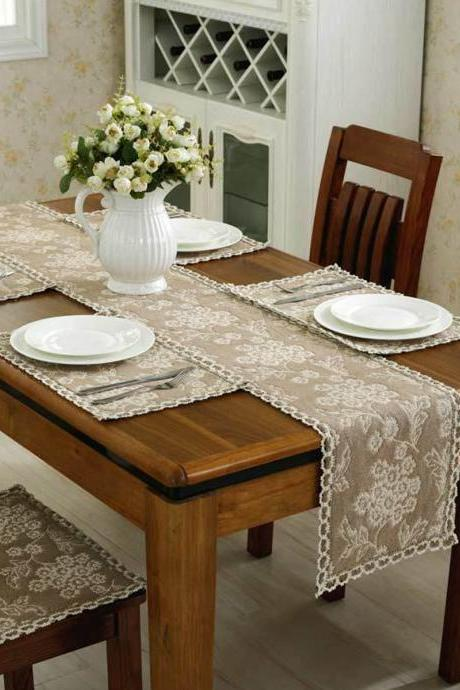 Knitted Table Runner Flower Pattern Soft Table Cloth