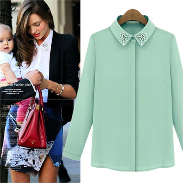 New Women's Chiffon Beads Stand-collar Pure White Long Sleeve Shirt Tops Blouse