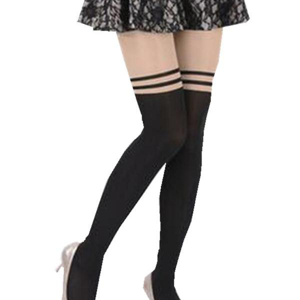 Women's Sexy Stripes Patchwork Snagging Resistance Tights