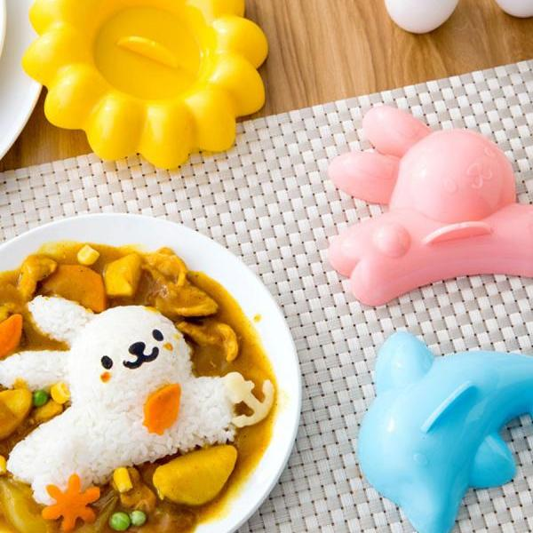 4PCS Rice and Vegetable Roll Mold Set Cartoon Animals Shape DIY Food Mold